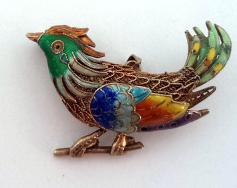 Vintage Enamel Filigree Bird Pendant Brooch Wire Work Gold Wash Chinese Signed SILVER