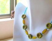 Boho Chic Flowers Necklace // Spring Green Summer Yellow and Turquoise Blue Glass Beaded Necklace //Bohemian Everyday Jewelry - BJ0055