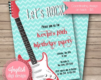 Printable Guitar Birthday Party Invitation, Guitar Birthday Party Invite, Guitar Party Invite - Let's Rock in Blue, Red, Black, White
