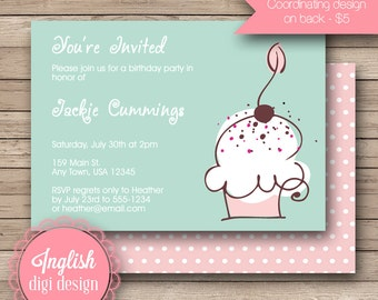 Printable Cupcake Birthday Party Invitation, Cupcake Birthday Party Invite, Cupcake Party Invite - Whimsical Cupcake in Teal, Pink
