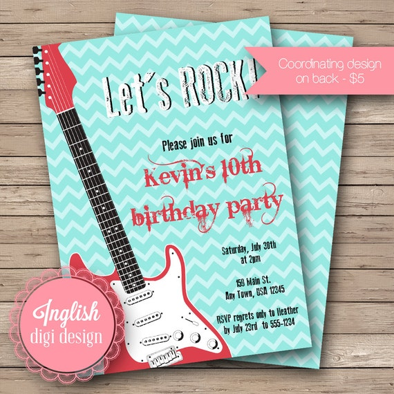 Printable Guitar Birthday Party Invitation, Guitar