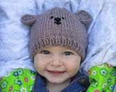Teddy bear hat, beanie for 7-12 month  baby,  luxuriously soft wool and bamboo