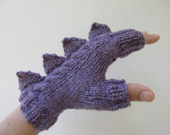Dragon, dinosaur, monster muted purple very soft fingerless mittens gloves,wool and bamboo, medium female adult