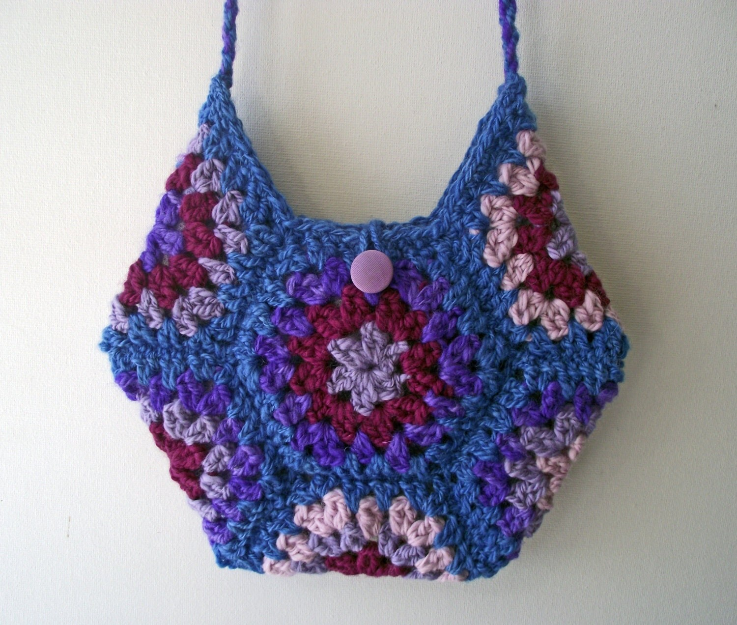 Crochet Hexagon Bag Lined Wool Artisan Boho Bag by WonderWoollens