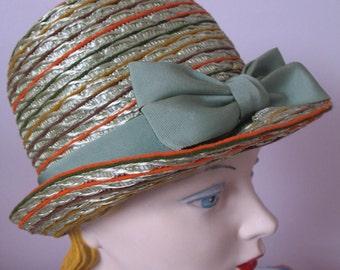 1950's Bucket Straw Hat, Mr John Jr, Stripes