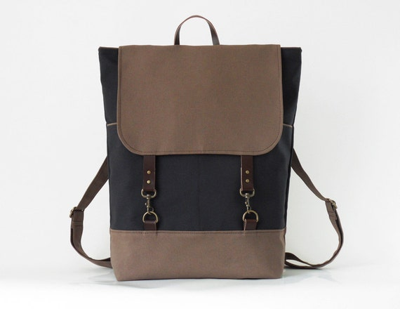 Unisex, Dark navy and chocobrown canvas Backpack, laptop backpack with leather closures and 2 front pockets, Design by BagyBags