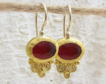 Carnelian Gold Earrings - Fine Gold Earrings - Bridal Earrings - Gemstone Earrings