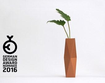 Geometrical Cardboard Vase SNUG.VASE high / copper