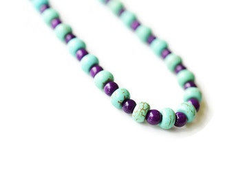 Magnesite Necklace, Purple & Green Necklace, Jade Necklace, Gemstone Necklace, Unique Necklace