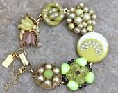 RESERVED for Kim - Bracelet, Vintage Earring Bracelet, Yellow, Thermoset, Rhinestone, Jennifer Jones, Under 40, OOAK - Sun on the Moon