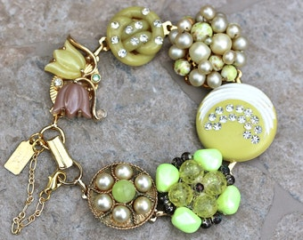 Bridesmaid Gift, Wedding Bracelet, Vintage Earring Bracelet, Yellow, Thermoset, Rhinestone, Jennifer Jones, Under 40, OOAK - Sun on the Moon