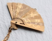 Japanese Fan Necklace ... Vintage Brass Folding Fan Pendant