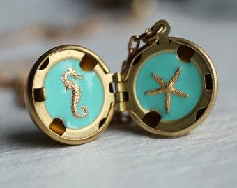 Mermaid Treasure Locket ... Seahorse Starfish Necklace Ball Sphere Pendant