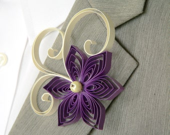 Groom and Groomsmen Boutonniere, Purple and Ivory Boutonniere, Vintage Wedding Boutonniere