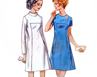 Butterick 5679 Vintage 60s Misses' Dress Sewing Pattern - Uncut - Size 12 - Bust 34