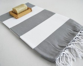 SALE 50 OFF/ Turkish Beach Bath Towel / Classic Peshtemal / Gray White / Wedding Gift, Spa, Swim, Pool Towels and Pareo