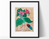 Tuinal Capsules 8x10 Art Print, Surreal, Botanical, Pill, Tropical, Pink Flower, Drugs, Medical, Chemistry, Psychiatry Art