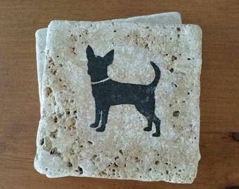 "Chihuahua coasters, 4"" x 4"" Tumbled Stone, dog drink coasters"