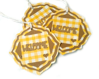"6 - 2.75"" Rustic Wedding Welcome Basket Yellow Gingham Kraft Gift Tags, Wedding Welcome Bag Tags Repurposed, Recycled Materials"