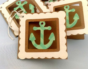 4 Handmade Nautical, Anchor, Folded Die Cut, Aquamarine, Turquoise, Teal and White Kraft Gift Tags