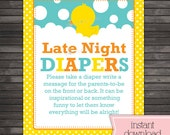 Rubber Ducky Late Night Diaper Game - Neutral Baby Shower - Printable - Diaper Thoughts Message Game - Instant Download - Aqua Blue Yellow