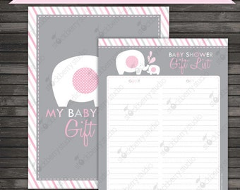 Elephant Baby Shower Guest Gift List Printable - Pink and Gray - Instant Download - Girl Elephant Baby Shower Gift Tracker - Gift Checklist