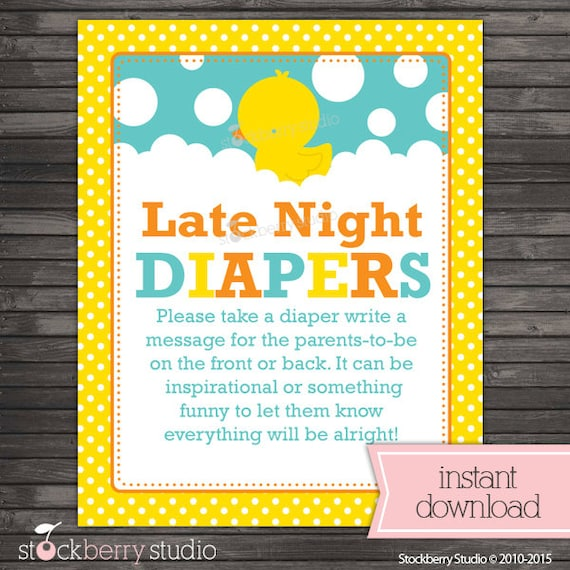 Rubber Ducky Baby Shower Late Night Diaper Game Rubber Duckie Baby