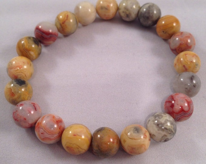 Crazy Lace Agate 10mm Round Bead Bracelet with Sterling Silver Accent