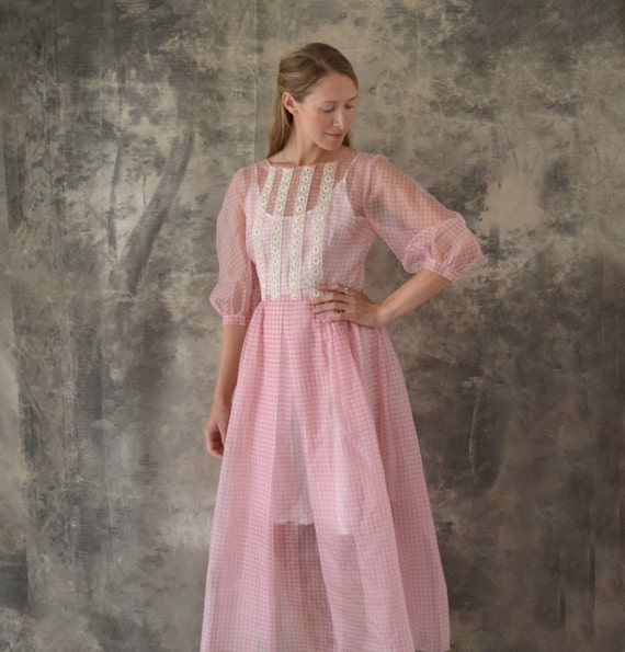 1950s Sheer Pink Gingham Organza Dress size M