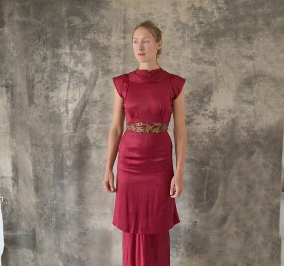 1930s Scarlet Silk Tiered Dress size S