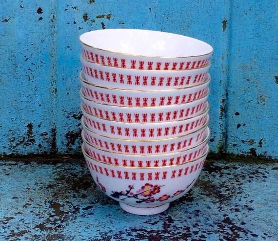 Eight Cherry Blossom Rice Bowls/Tatung Taiwan by whoodooart