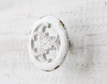 True White Cabinet Door Pulls-Distressed-Petite Drawer Handle-Spring Home Decor-Soft Pink-Cupboard Knobs 3 inch mounting-Shabby Pull