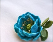 Handmade Felt  Brooch - Felted Flower brooch  -  Wool brooch -Turquoise flower brooch
