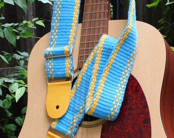 Adjustable Guitar Strap - Turquoise and Yellow - Handwoven