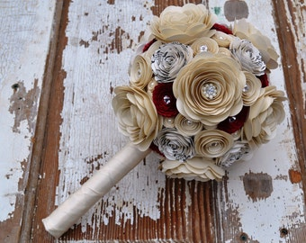 Romantic Pearls and Crystals Custom Paper Flower Wedding Bouquet
