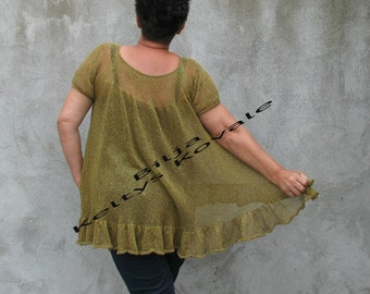 olive green ... shiny...hand knitted, green, sparkle, transparent tunic ...XXL...XXXL