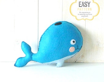 Whale Stuffed Animal Pattern, Whale Hand Sewing Pattern, Plush Whale Sewing Pattern, Whale Softie, Blue Whale