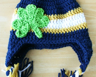 Notre Dame hat for adults, knit Notre Dame cap, Crochet winter Hat, Shamrock hat, Clover hat, St. Patrick's Hat, St. Patty's Day