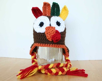Turkey Hat, Thanksgiving outfit, Crochet Thanksgiving hats for kids, Turkey hat for kids, photo prop, Thanksgiving hat