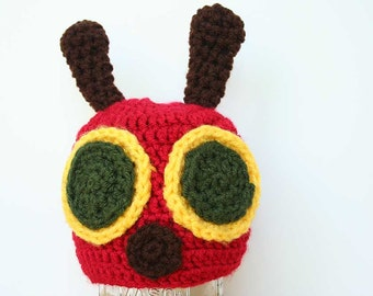 Crochet Caterpillar Hat, caterpillar beanie, red green and yellow, crochet hat unisex