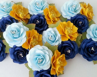 Paper Flower Corsages - Boutonnieres - Weddings - Bridal Shower - Shades of Navy and Yellow - Customize Your  Colors - Made To Order