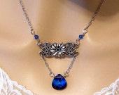Romantic Blue Necklace, Red Blue Victorian Necklace, Swarovski Heliotrope Blue Crystal Necklace Bridal Victorian Wedding Jewelry Bridesmaid