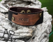 SUMMER SALE! Home ... Tennessee shaped thin metal and leather cuff bracelet
