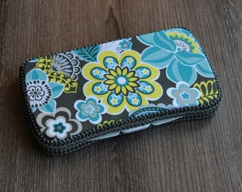 Boutique Baby Wipes Case - Grey Yellow Teal Floral - Wipes Clutch - Wipe Holder- Travel Wipes - Ready to Ship.
