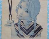 "girl and scissors 11""x14"" print on wood"