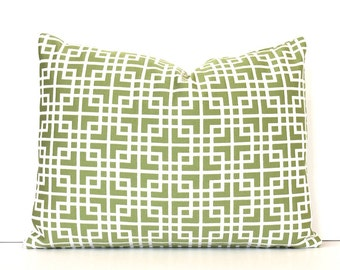 Green Lattice Designer Lumbar Pillow Cover Accent Throw Cushion lime chartreuse kiwi cream ivory greek key apple geometric Pantone Greenery