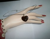 Old  Vintage Genuine Boltic Amber Heart Necklace 925 Sterling snake chain