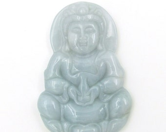 Natural Jadeite Gem Tibetan Buddhist Kwan-Yin Pu-Sa Talisman Pendant Good Luck 51mm*35mm  Cy133