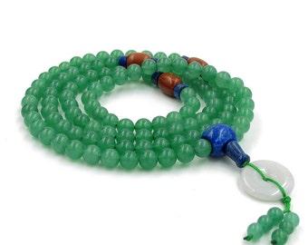 Fashion Style 108 Stone Prayer Beads Tibetan Buddhist Japa Mala Necklace 8mm  ZZ363