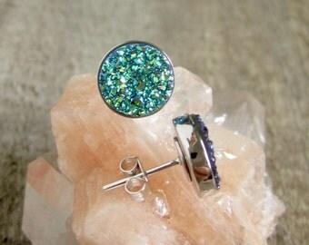 Green Druzy Studs in Sterling Silver, Drusy Earrings, Drusy Studs, Druzy Jewelry, Silver Studs, Bridesmaid Jewelry